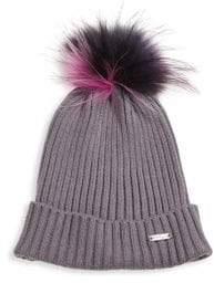 Bari Lynn Rib-Knit Fox Fur Pom-Pom Beanie