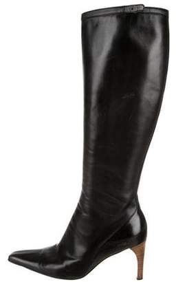 Gucci Leather Pointed-Toe Mid-Calf Boots