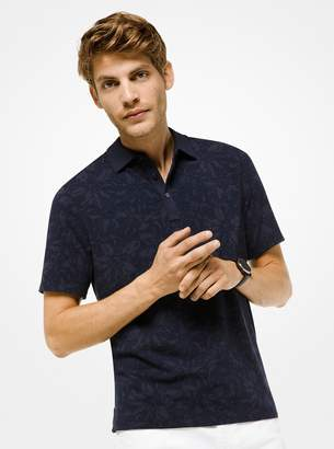 Michael Kors Floral Cotton-Jersey Polo Shirt
