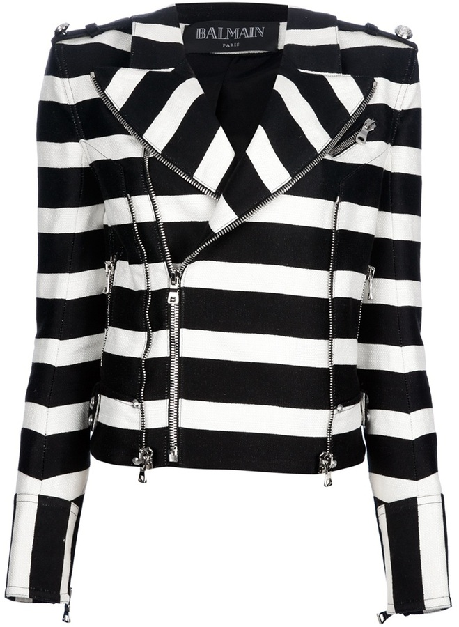 Balmain striped biker jacket
