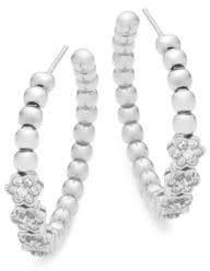 Crystal and Sterling Silver Floral Hoop Earrings
