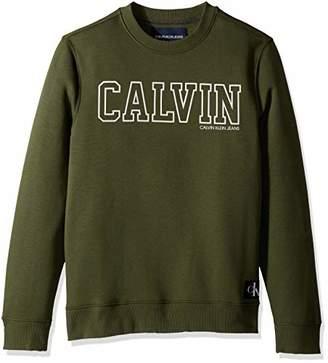 Calvin Klein Jeans Men's Crew Neck Sweatshirt with Tonal Rib Tipping