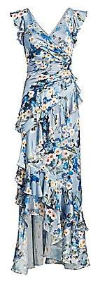 Theia Women's Printed V-Neck Ruffle Gown