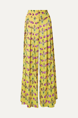PatBO Pleated Floral-print Satin Wide-leg Pants - Bright yellow