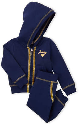 Juicy Couture Infant Girls) Two-Piece Navy Zip-Up Hoodie & Joggers Set