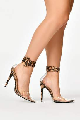 0a837845d08b I SAW IT FIRST Leopard Print Cuff Detail Clear Court Shoes