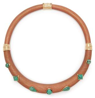 Aurelie Bidermann Wood And Turquoise Stone Necklace - Womens - Blue