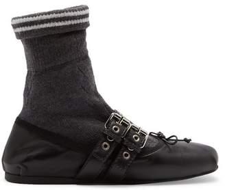Miu Miu - Sock Leather Ballet Flats - Womens - Black Grey