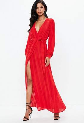 Missguided Red Striped Long Sleeve Tie Waist Split Maxi Dress