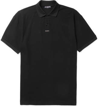 Balenciaga Oversized Printed Cotton-Piqué Polo Shirt