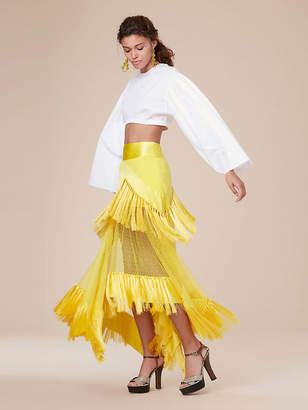 Diane von Furstenberg Midi Square Hem Fringe Skirt