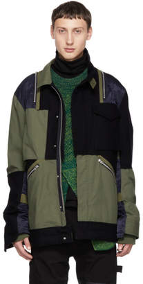 Sacai Navy and Khaki Panelled Jacket
