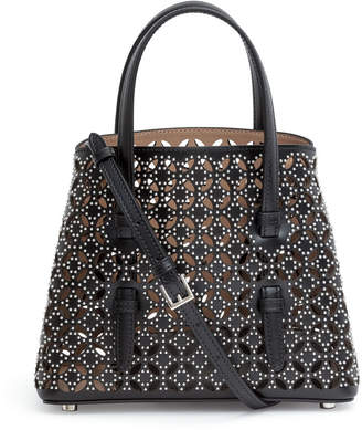 Alaia Black studded laser cut tote bag