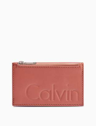 Calvin Klein embossed logo leather l-zip wallet