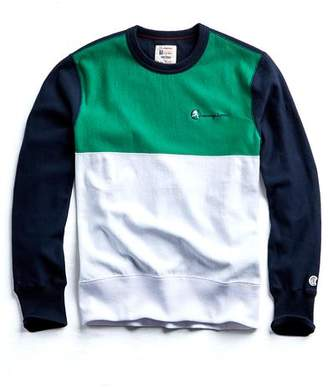 Todd Snyder + Champion Champion Colorblock Crewneck in Navy/Green