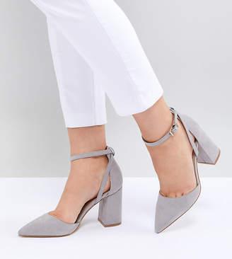 Raid Wide Fit RAID Wide Fit Katy Light Grey Block Heeled Shoes