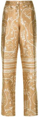 Alberta Ferretti floral embroidered trousers