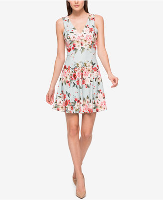 Jessica Simpson Floral-Print Scuba Fit & Flare Dress $98 thestylecure.com