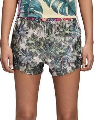 adidas Hgh-Waist Tropical Print Shorts