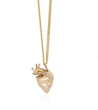 Strange Fruit Small Heart Pendant Gold With Diamonds