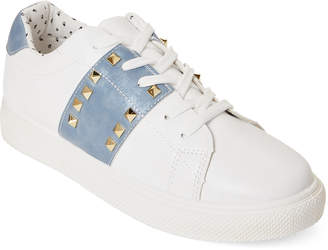 Wild Diva Lounge White & Blue Cyn Studded Sneakers