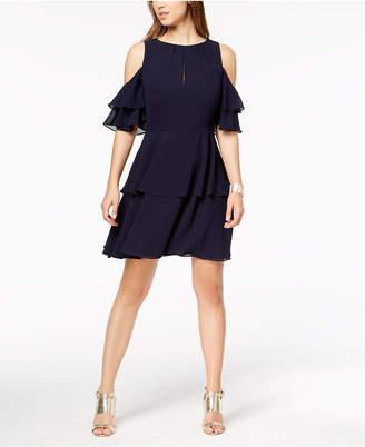 Vince Camuto Ruffle Cold-Shoulder A-Line Dress