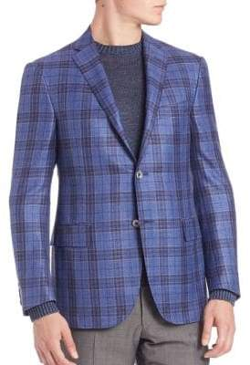 Corneliani Plaid Wool, Silk & Linen Sportcoat