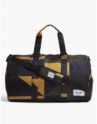 Herschel Black and Blue Geometric Novel Print Duffle Bag