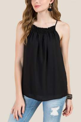 francesca's Tanner Smocked Neck Solid Top - Black