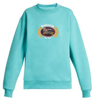 Burberry Crest Embroidered Round Neck Sweatshirt - Womens - Light Green