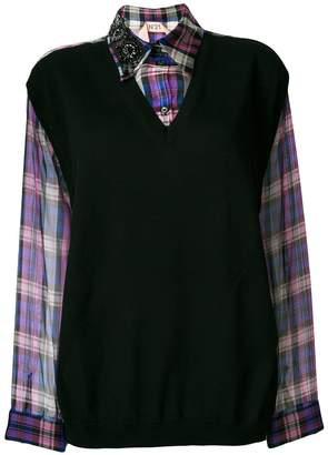 No.21 two-piece vest plaid shirt