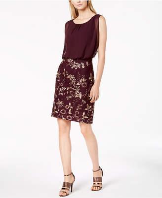 Calvin Klein Chiffon & Embroidered Blouson Dress