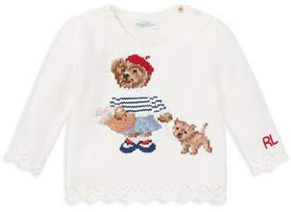 Ralph Lauren Girls' Paris Bear Sweater - Baby