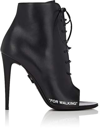 Women's Open-Toe Leather Ankle Boots