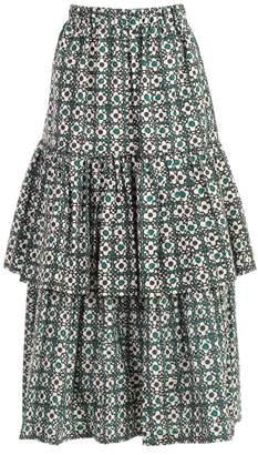 Golden Goose Miranda Floral Check Midi Skirt