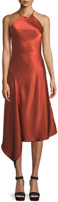 Alexis Lucy Draped Twill Halter Midi Dress