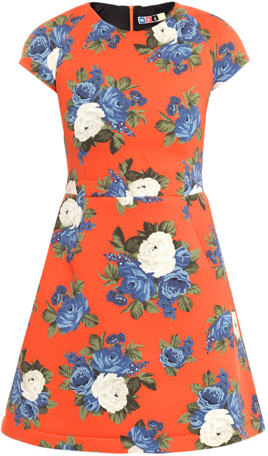 MSGM Neoprene floral-print dress