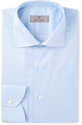 Canali Blue Cutaway-Collar Striped Cotton Shirt