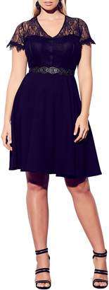City Chic Sweetly Belted Lace Bodice Dress