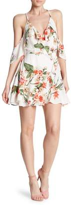 Dress Forum Cold Shoulder Ruffled Wrap Dress