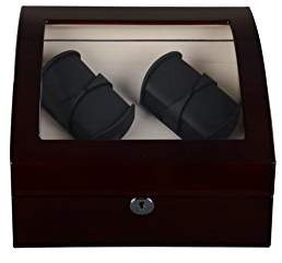 Lindberg & Sons watchwinder and watchbox for four automatic watches with stowage for four additional wrist watches Brown Wood Synthetic Leather Velvet LED - UB8222brcr