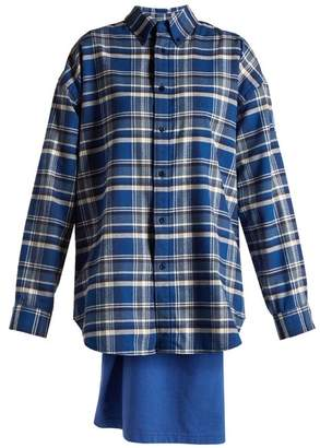 Balenciaga Sweatshirt Detail Checked Cotton Shirt - Womens - Blue Multi