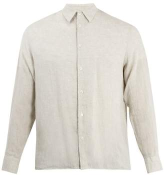 Giorgio Armani Point Collar Linen Shirt - Mens - Light Brown