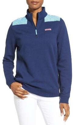 Women's Vineyard Vines Shep Stripe Shoulder Quarter Zip Pullover $125 thestylecure.com