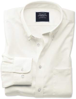 Charles Tyrwhitt Classic Fit Non-Iron Button Down Collar Off-White Twill Cotton Casual Shirt Single Cuff Size Small