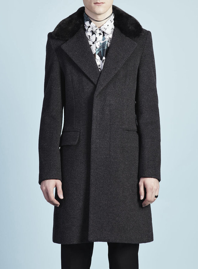 Topman TMD Charcoal Wool Fur Coat