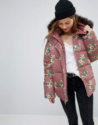 Asos DESIGN Puffer Coat in Floral Print