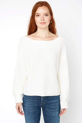 French Connection White Boatneck Pullover