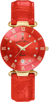 Jacques Du Manoir Ladies' Red Genuine Leather Strap with Rose Goldtone Case and Red Dial with Diamond Markers, 33mm