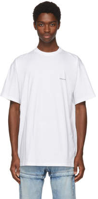 Balenciaga White Oversized Small Logo T-Shirt